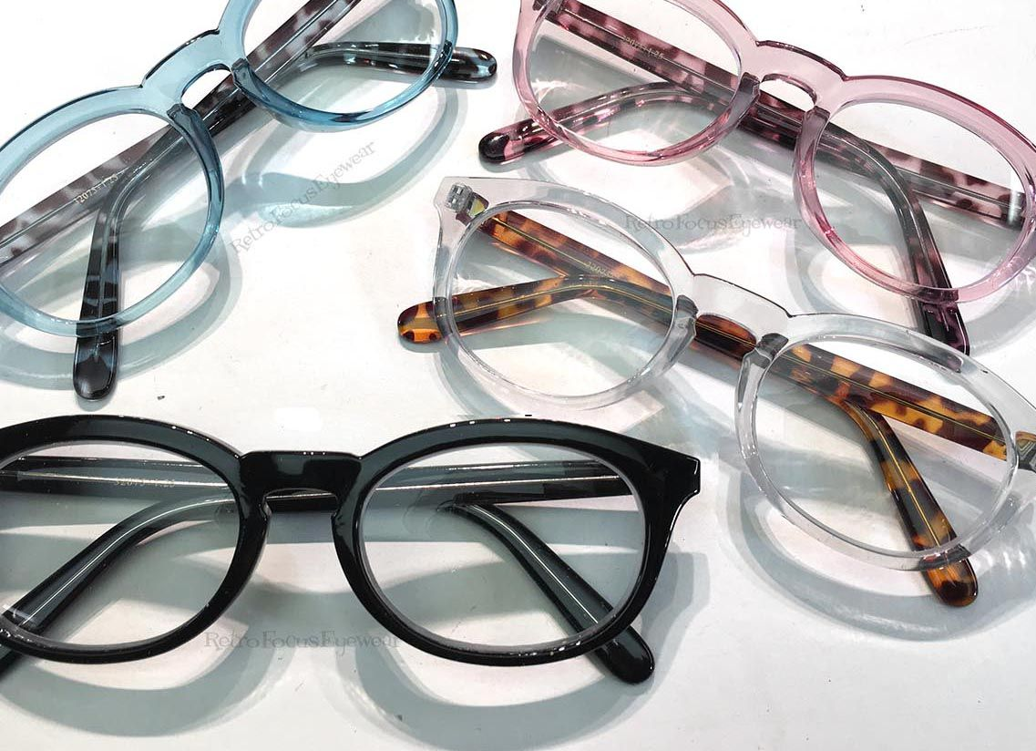 64ba2b78d8 Fun and Chunky Flattened Oval Geek Hipster Eyeglass Frames Reading Glasses  Pink Blue Clear Black with