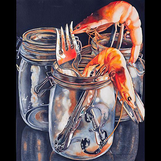 """""""Prawns on Prongs"""" by Lori Pitten Jenkins"""