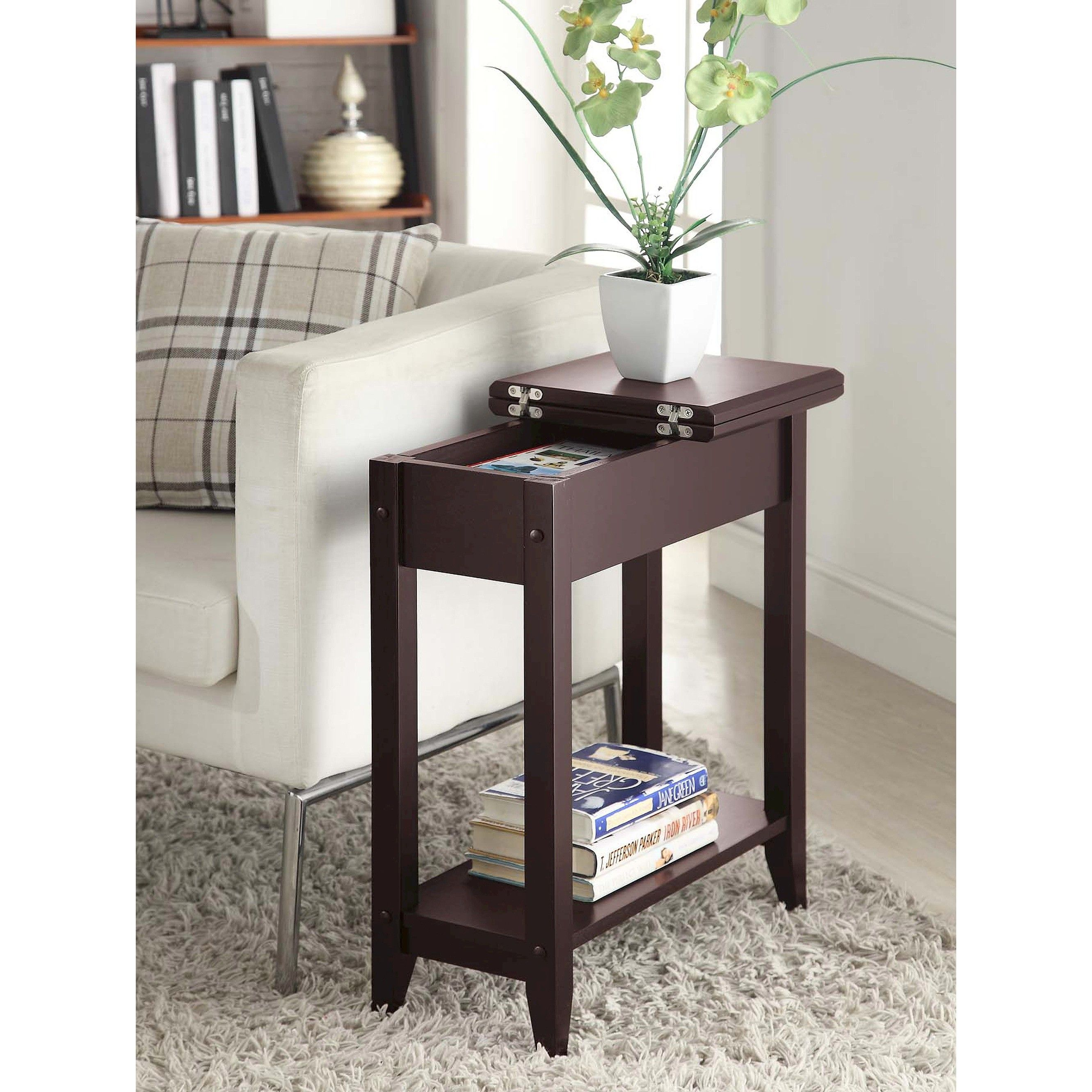 American Heritage Flip Top End Table Espresso Breighton Home Modern Sofa Table End Tables Coffee Table With Drawers