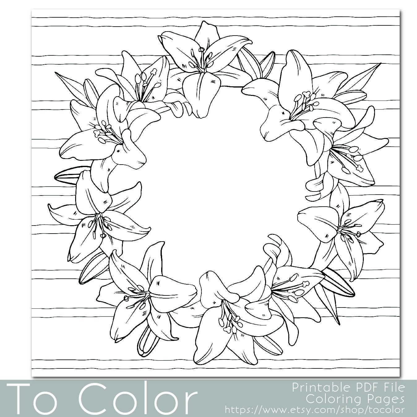 Flower, Lilies Floral Coloring Page for Adults, PDF / JPG