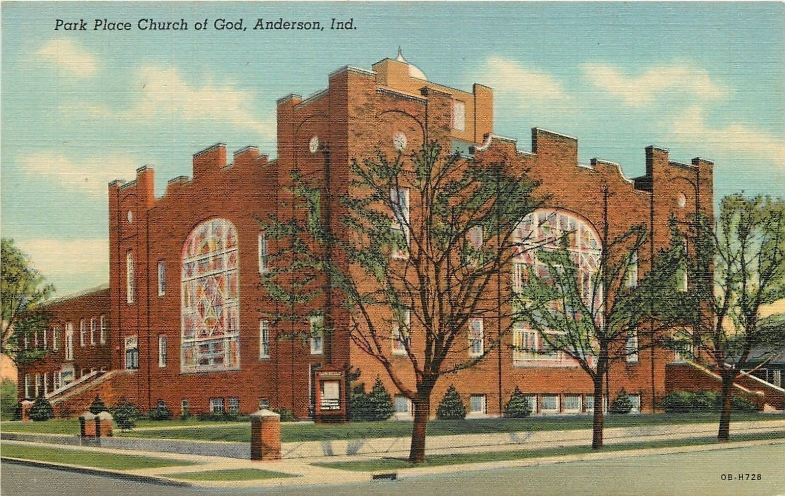 Anderson Indiana Park Place Church Of God 1940 Linen Postcard In