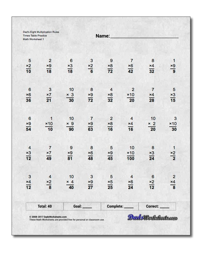 worksheet Practice Multiplication Problems multiplication worksheet dads eight rules times table practice table
