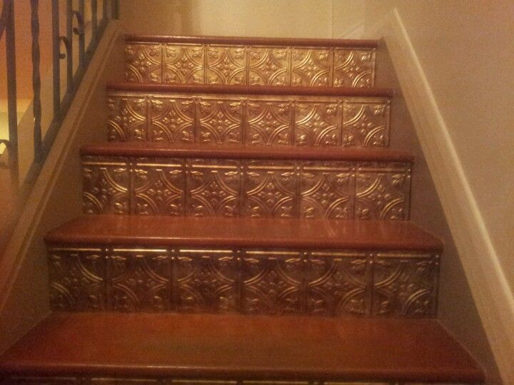 Pin By Katie Burns On Diy Home Painted Stair Risers Painted   Metal Steps Home Depot   Wrought Iron Railings   Flashing   Step Stool   Deck Railing   Stair Treads