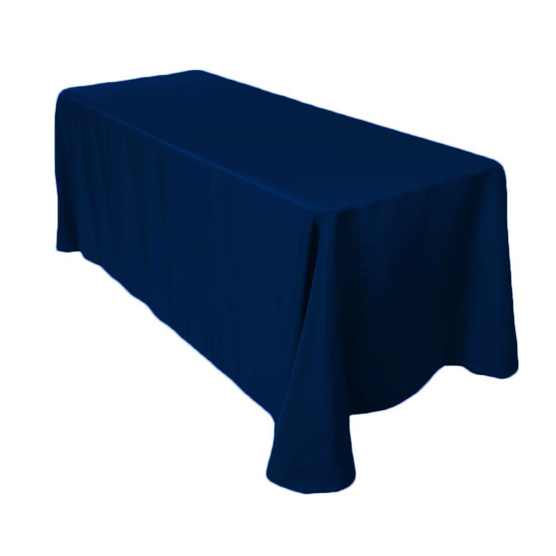 90 X 132 In Rectangular Polyester Tablecloth Navy Blue Navy