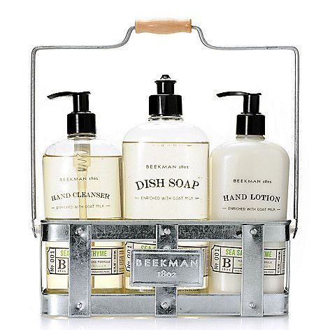 kitchen soap caddy pendant lights for island beekman 1802 three piece hand lotion dish cleanser set