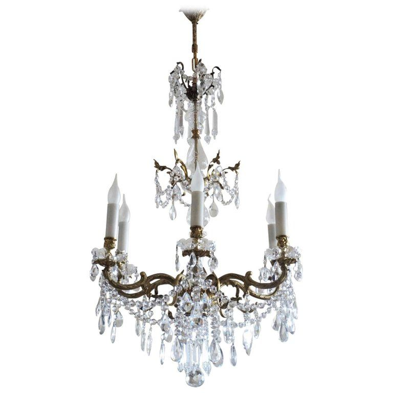 French Crystal and Bronze Six Light Chandelier