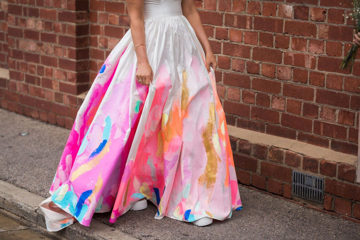 The Bride Wore A Hand Painted Rainbow Wedding Dress Green Wedding Shoes Painted Wedding Dress Hand Painted Wedding Dress Rainbow Wedding Dress