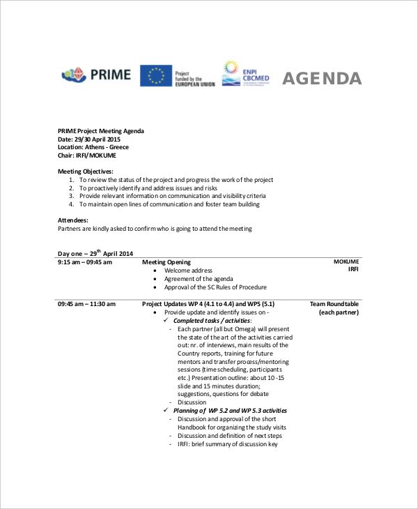 Meeting Agenda Template Doc