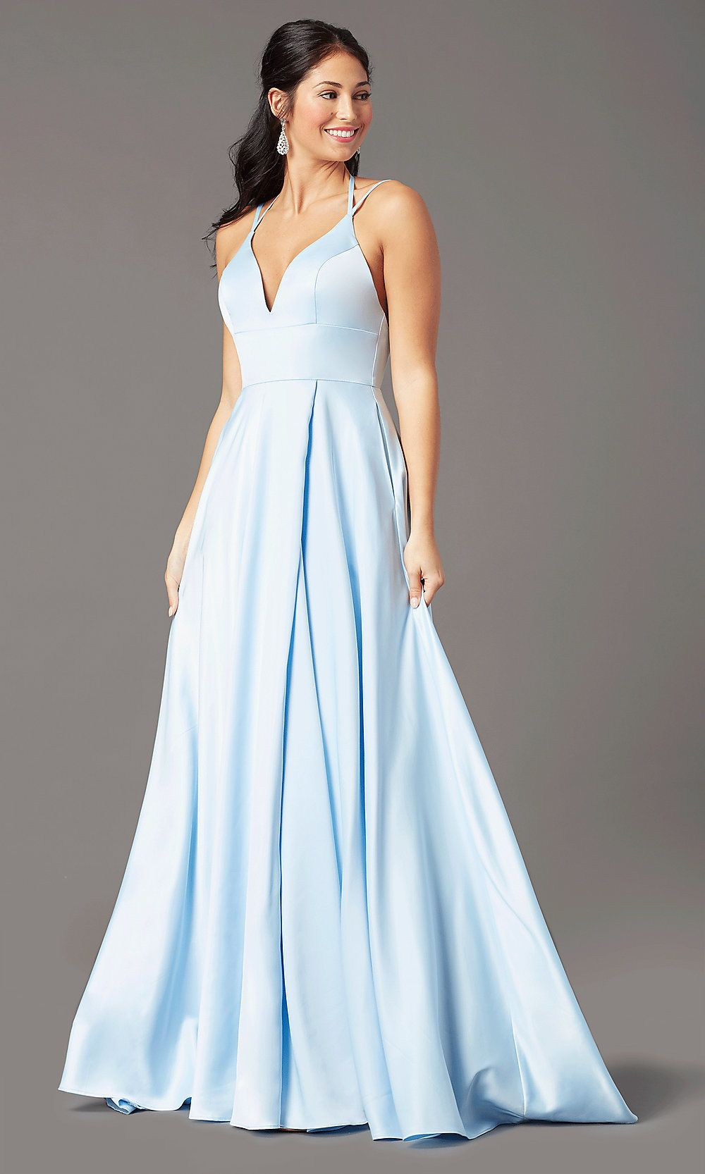 Long Strappy-Open-Back Formal Prom Dress - PromGirl ...
