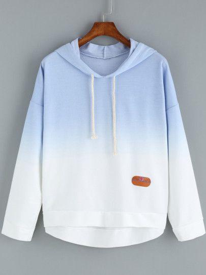 Blue Hem Dip Sweatshirt Ombre Shop Hooded OnlineShein 2DeW9IYEH