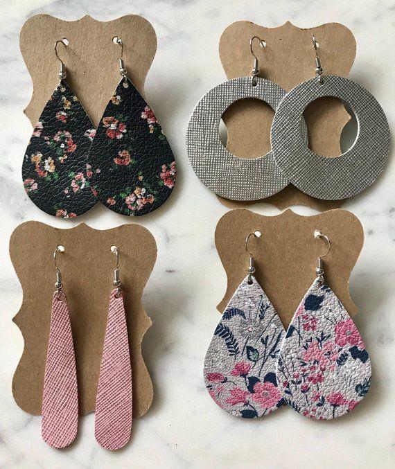 Photo of Nice, light leather earrings. Teardrop floral, gray and black, pink narrow teardrop, silver …