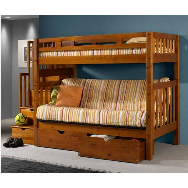 Twin Over Full Futon Bunk Bed With Stairs In Honey Finish Futon Bunk Bed Bunk Beds Stairway Bunk Beds