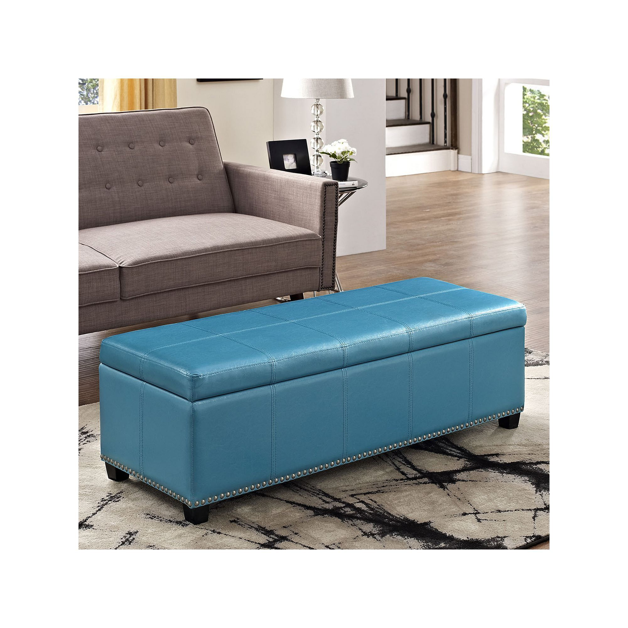Simpli Home Kingsley Rectangular Storage Ottoman Bench, Blue