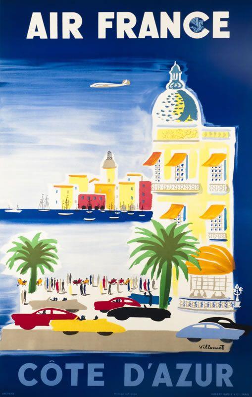 Vintage Travel Poster - La Côte d'Azur -  by Villemot, Bernard  - 1952 - Air France.