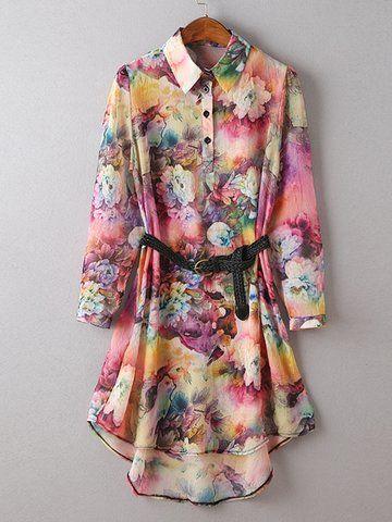 Elegant Women Belt Printed Single Breasted Lapel Shirt Dress