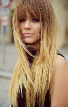 Long Haircut With Bangs Fringe Hairstyle Kristina Bazan