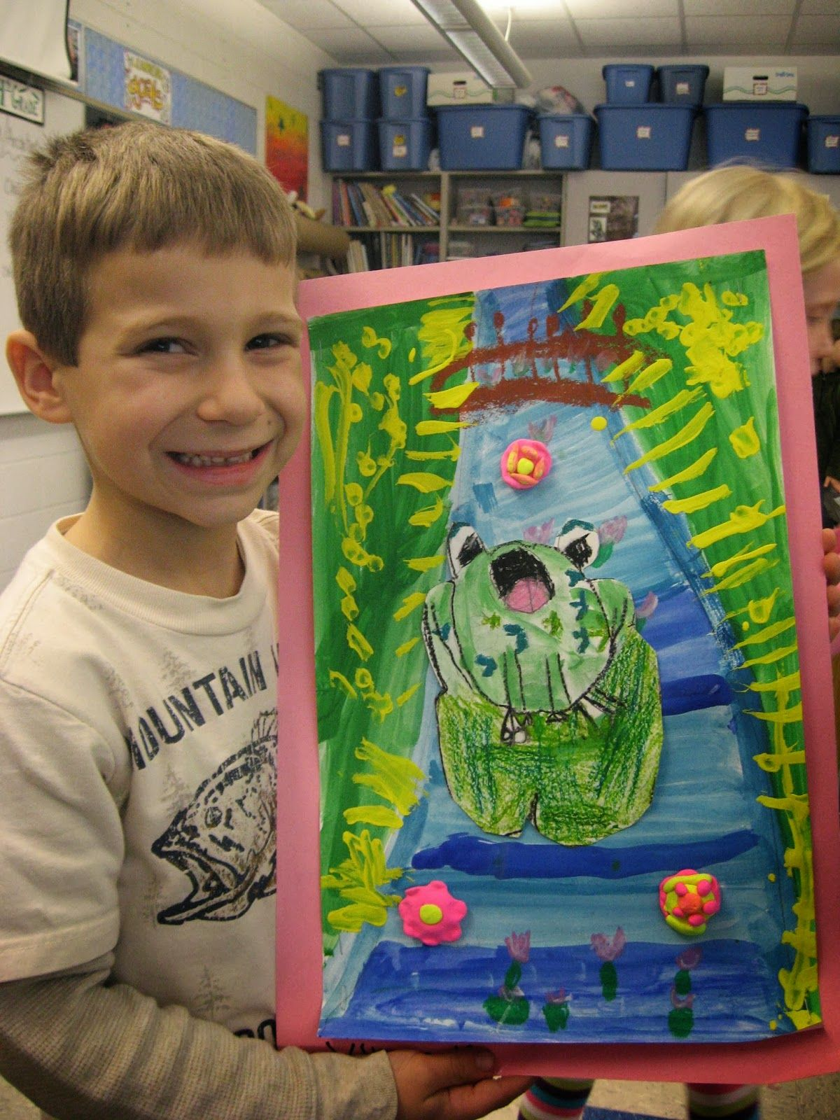 Adorable 1st Grade Claude Monet Style Art With Frogs Can Discuss Life Cycle Of A Frog Warm