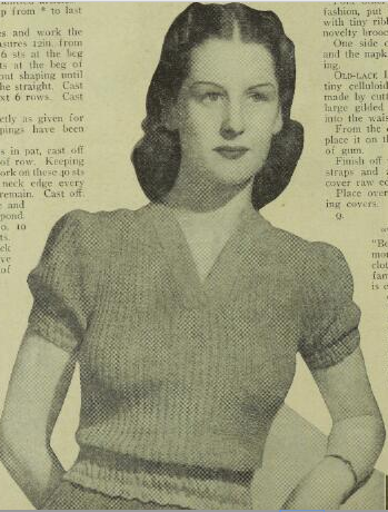 Free Vintage Knitting Pattern For 1940s Womans Sweater Lastex