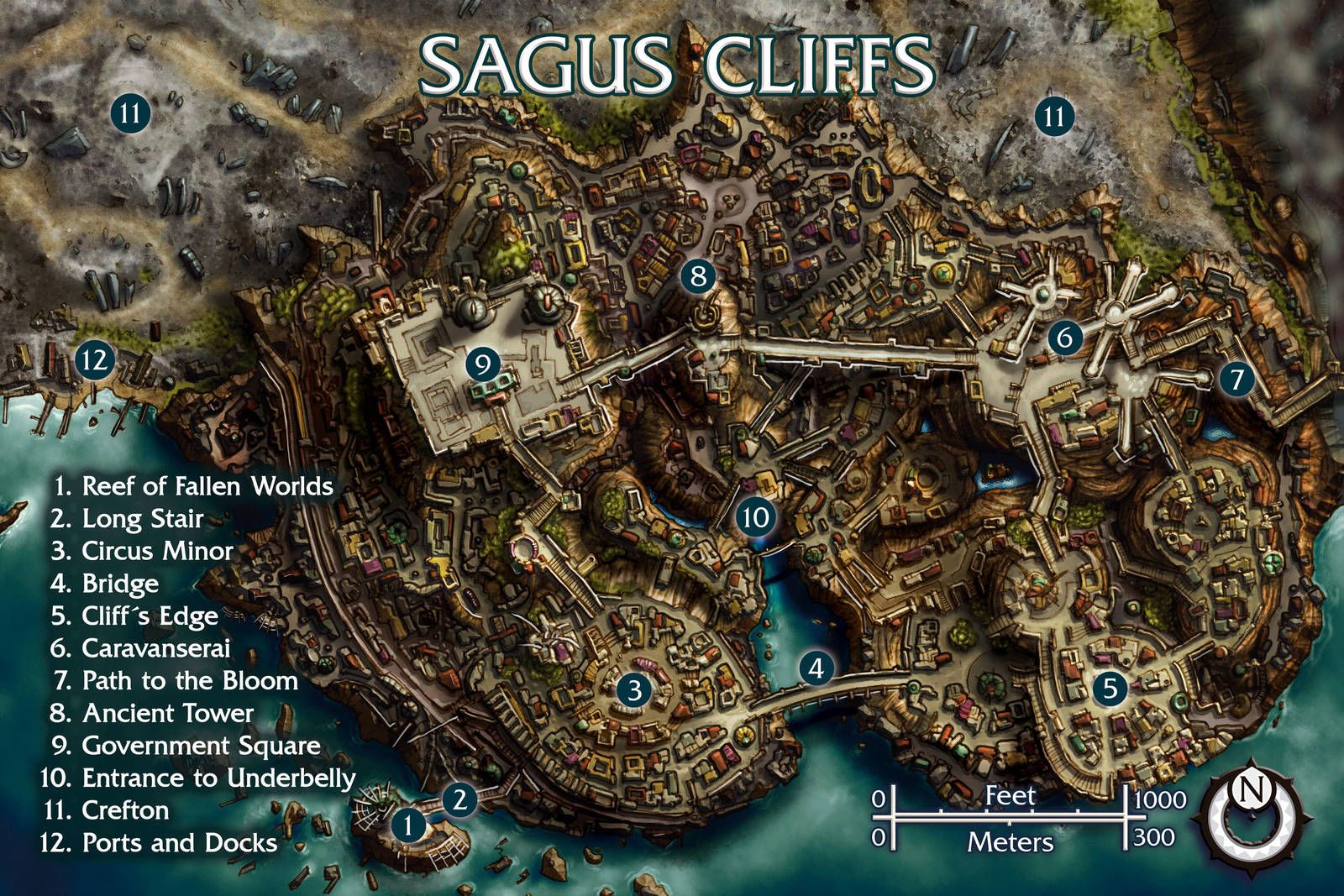 tides of numenera world map Sagus Cliffs By Butterfrog Fantasy Map Fantasy City Map
