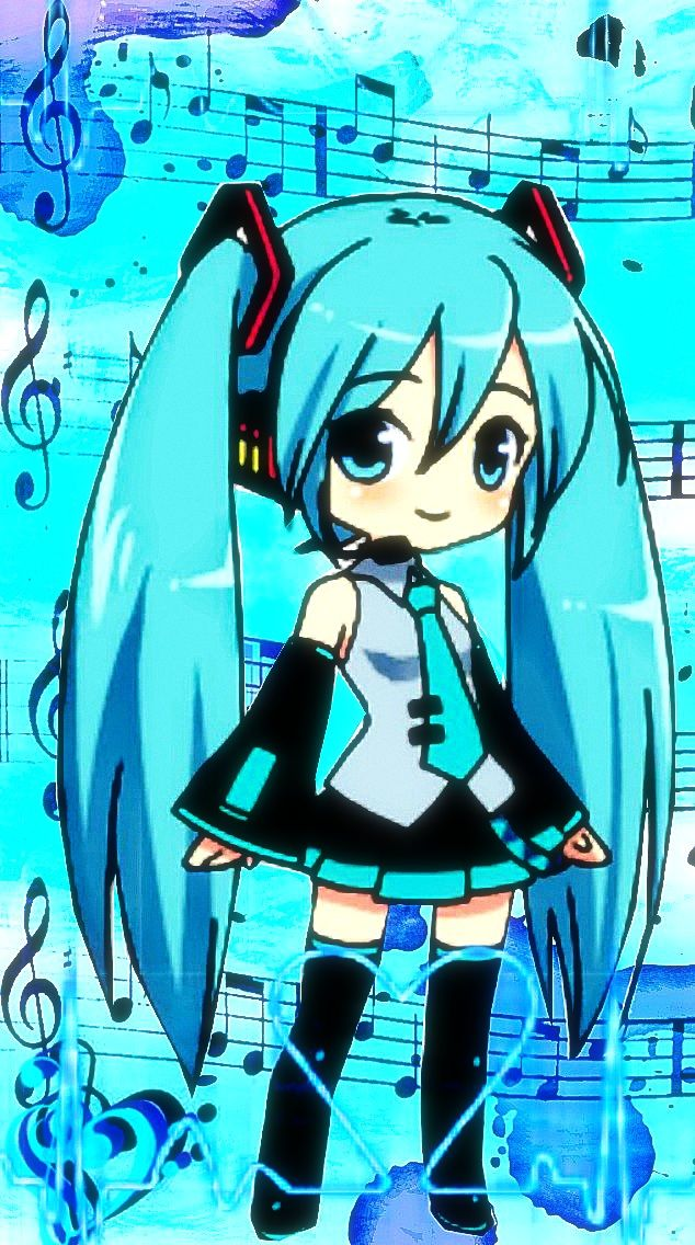 FREE! iPhone 5 Chibi Hatsune Miku Wallpaper by