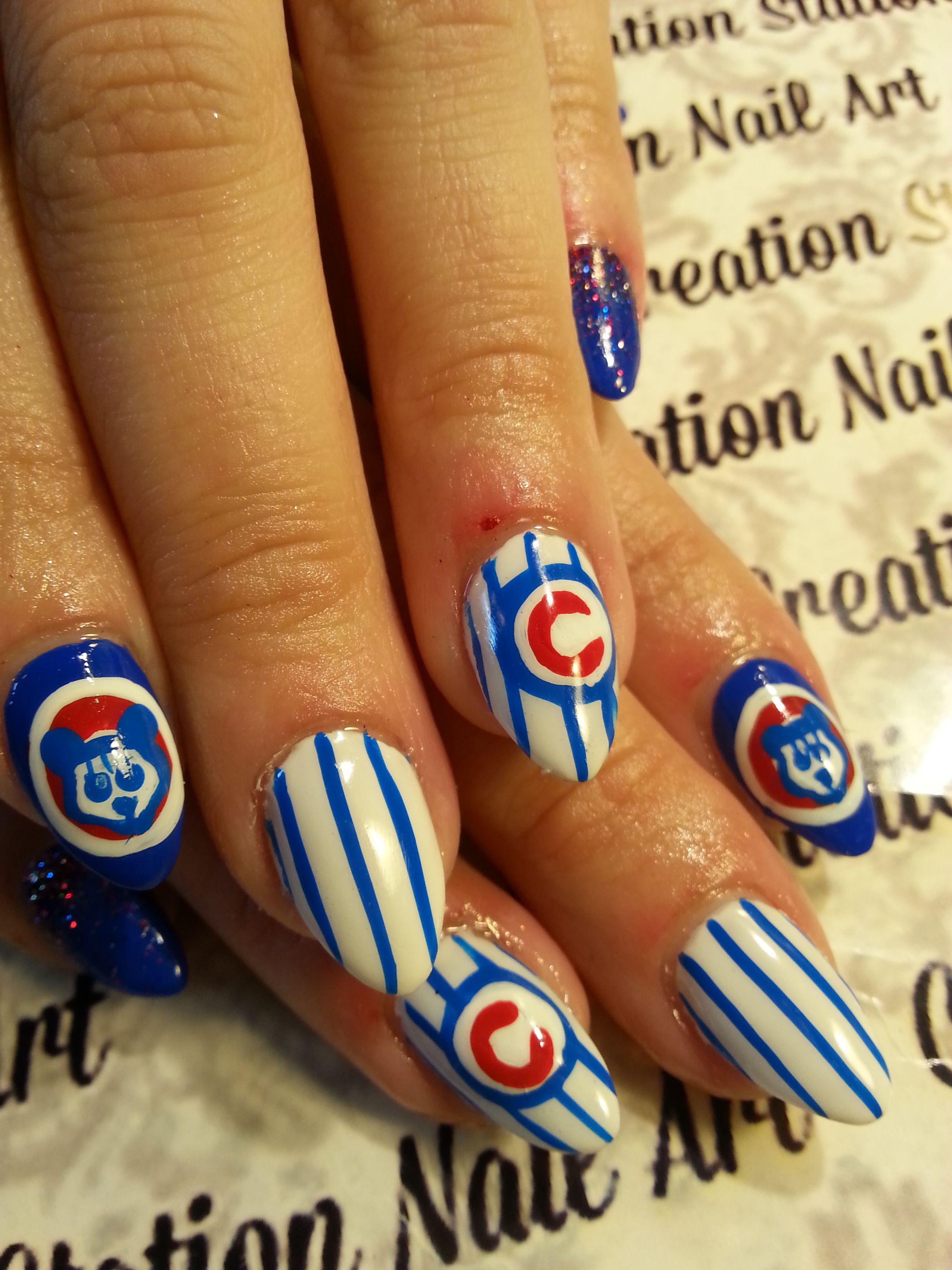 Chicago Cubs nail art | team spirit nails | Pinterest | Pedi, Mani ...