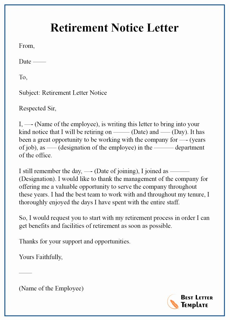 Retirement Letter To Employer New Retirement Notice Letter Template Format Sample Exampl Retirement Letter To Employer Lettering Cover Letter Template Free Sample retirement letter to employer