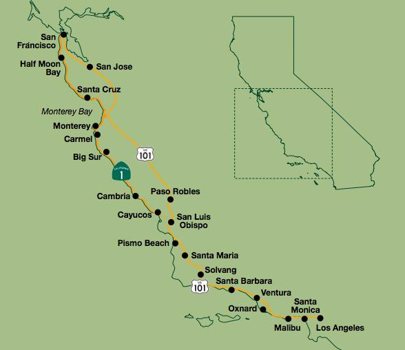 Central Coast Outdoors of San Luis Obispo California Trip Map