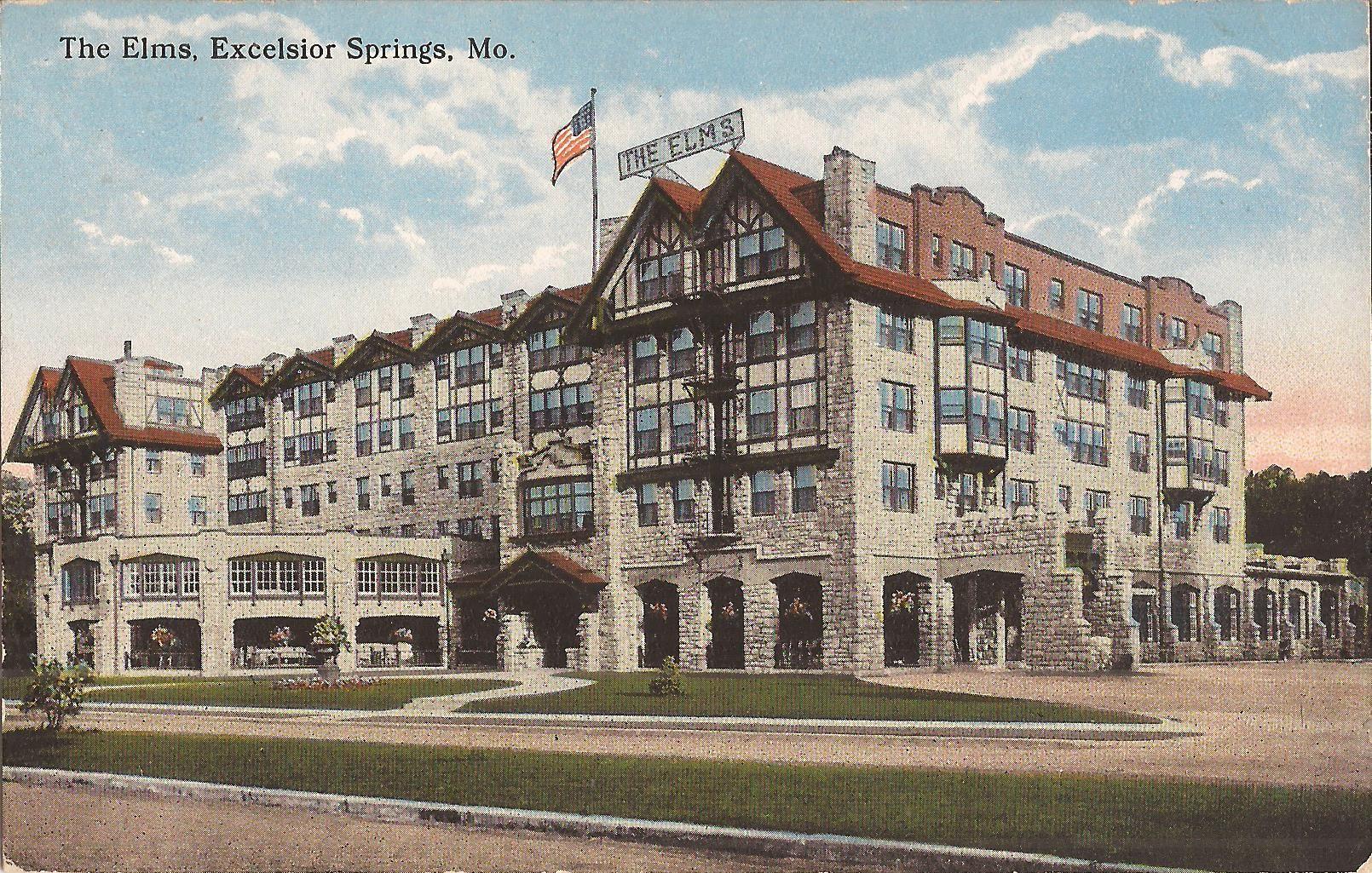 Elms Hotel Excelsior Springs, MO Postcard