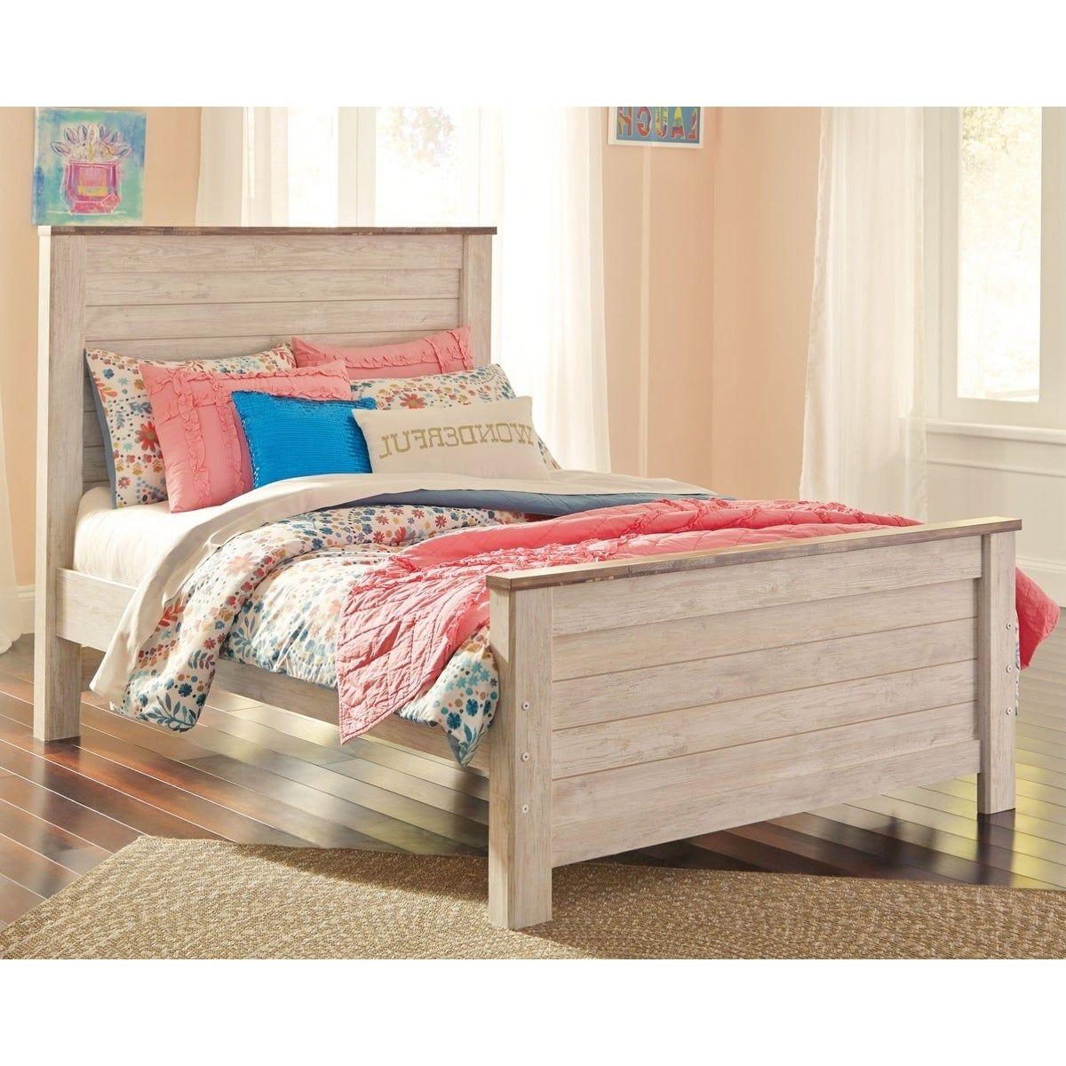 Ashley Derekson Twin Bed Homemakers Furniture Furniture Panel Headboard Bed Frame Mattress