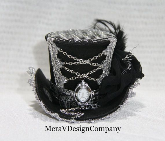 Steampunk Small Mini Top Hat Veil Victorian Headband Tiara Fancy Dress Accessory