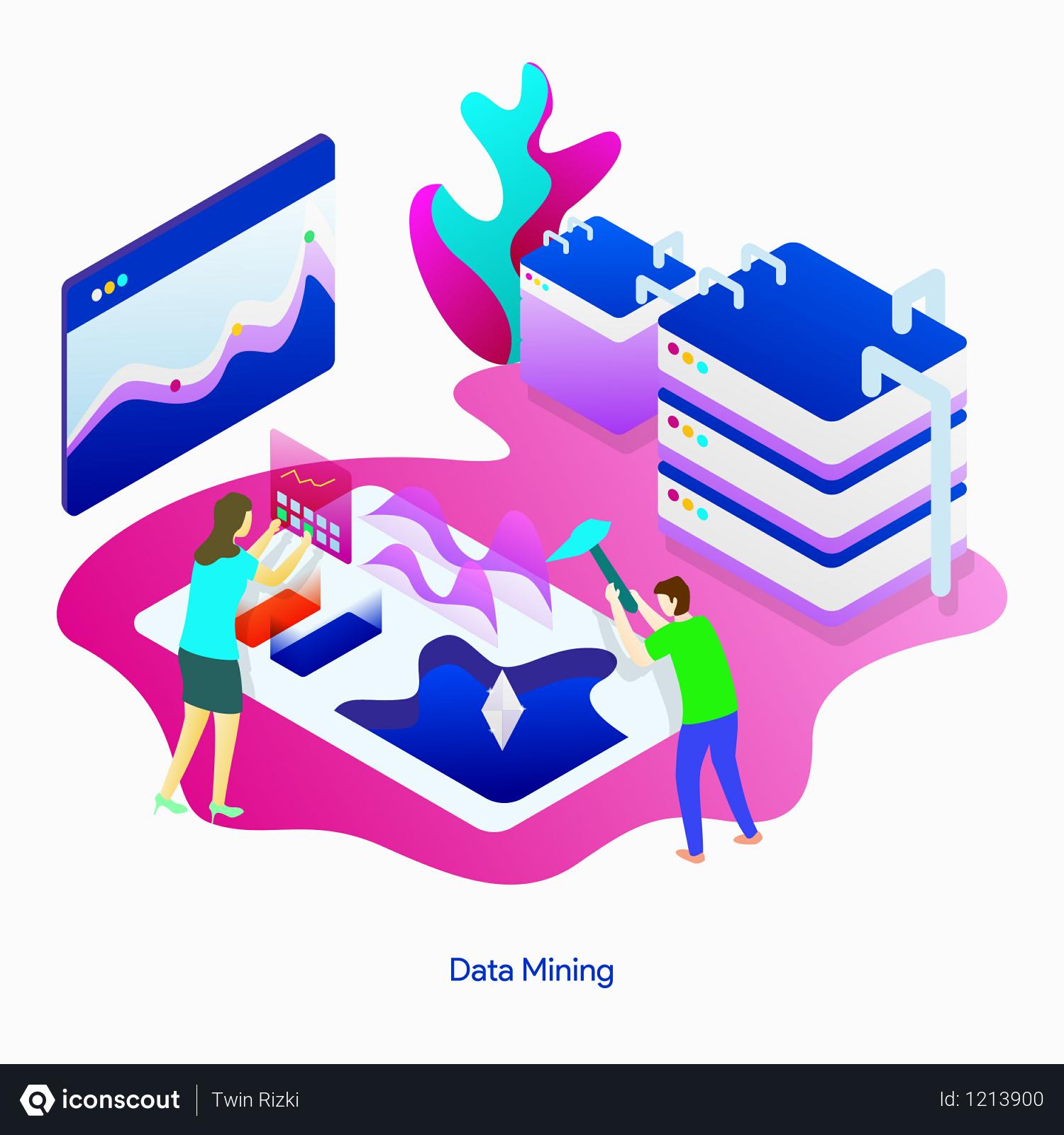 Premium Data Mining Illustration download in PNG & Vector