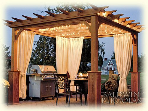 I ADORE this pergola!!! I like the lighting and the curtains. All that's  missing is a brick over and some wooden Adirondack chairs! - I ADORE This Pergola!!! I Like The Lighting And The Curtains. All
