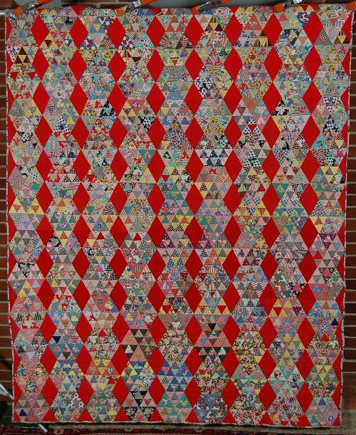 Vintage 40s Pyramids Antique Quilt Red Diamond Background and Cheater Cloth Back | eBay