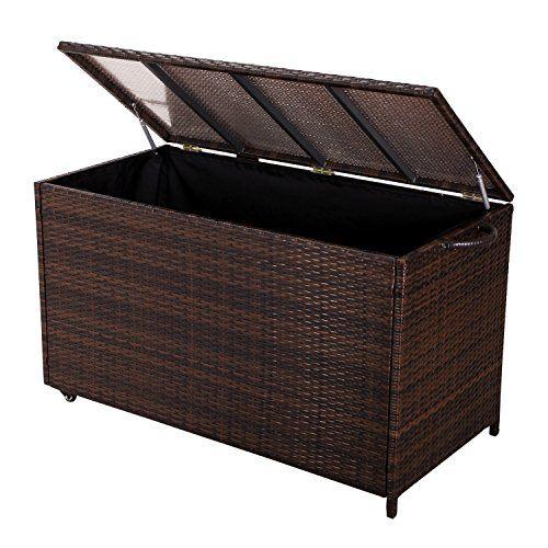 Adeco Patio Entertainment Wicker Storage Box Outdoor Or Indoor Bin Mocha Read More Re Outdoor Storage Boxes Wicker Storage Boxes Patio Furniture Dining Set