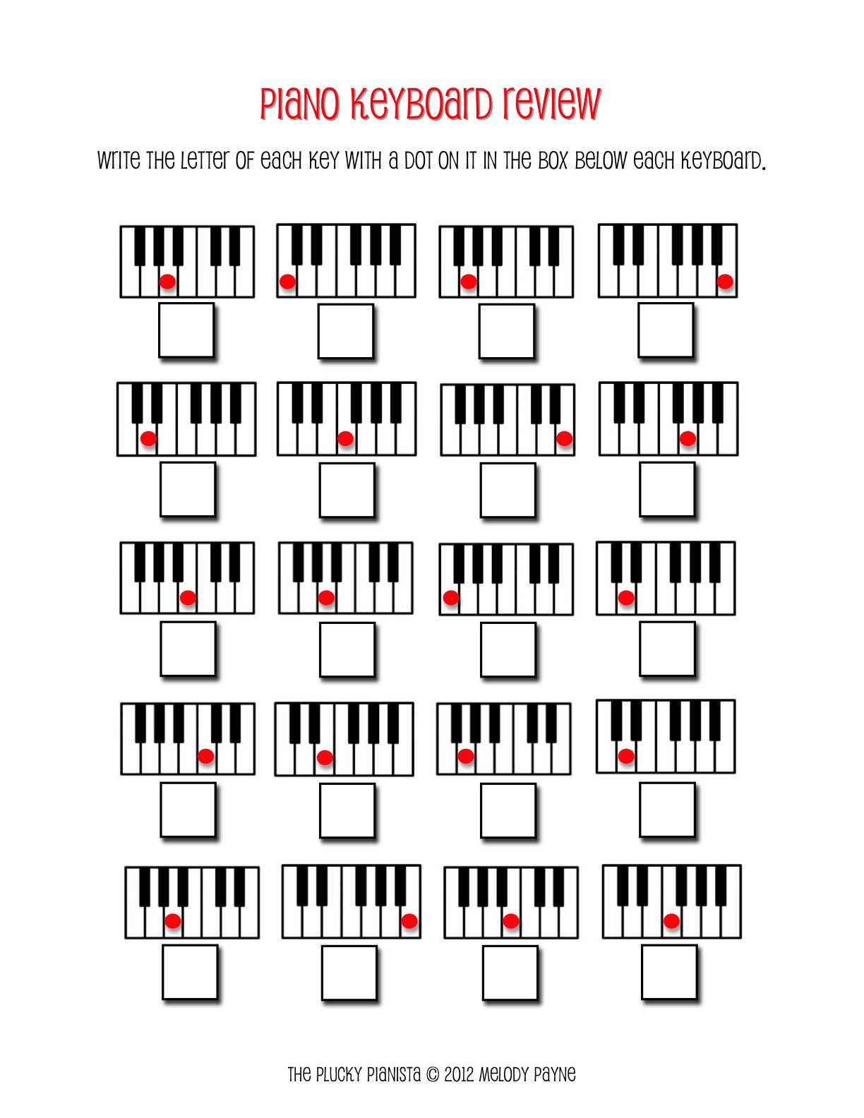 Worksheets Keyboard Worksheet piano keyboard review lessons pinterest the plucky pianista review
