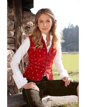 Samtweste (rot) von Almsach Janker & Westen Tracht & Co