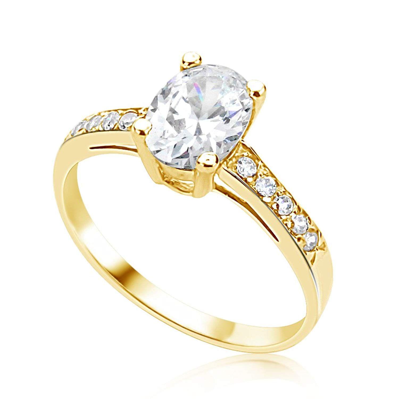 14k yellow gold oval cubic zirconia cz wedding engagement