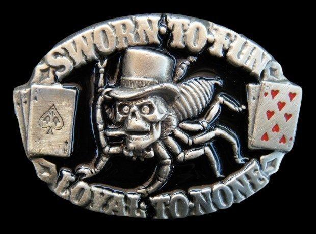 3265b8a6719d SPIDER WEB POKER SKULL GAMBLER SWORN LOYAL CARD BELT BUCKLE BOUCLE DE  CEINTURE