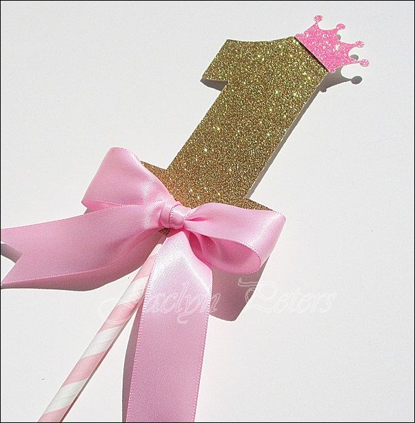 First Birthday Cake Topper, Girls Party, Princess Theme, Pink And ...