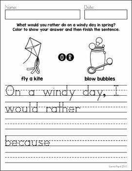 March Writing Journal Prompts Kindergarten Writing Activities Journal Writing Writing Prompts For Kids