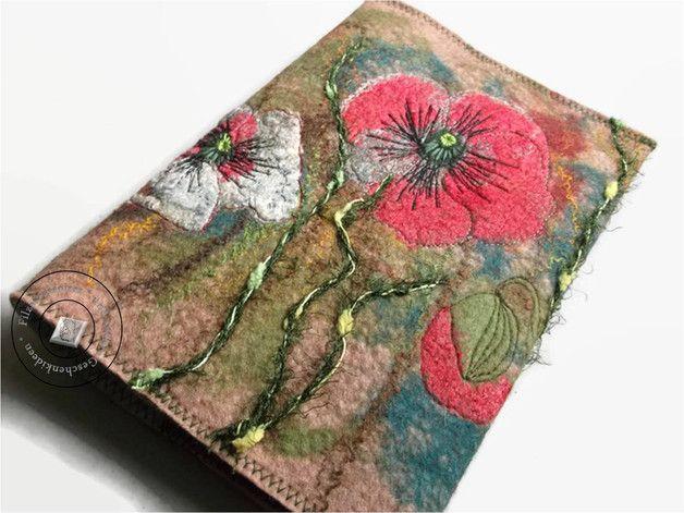 "Buchhüllen - Buchhülle gefilzt Art-Textil ""MohnTraum"" - ein Designerstück von SweetDecor bei DaWanda"