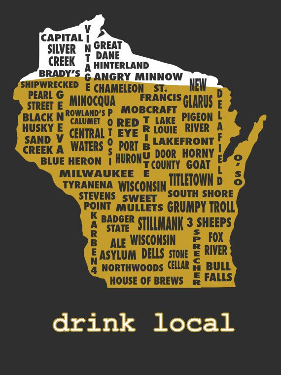 Drink Local Wisconsin Beer T Shirt By Uncomfortableyeti On Etsy