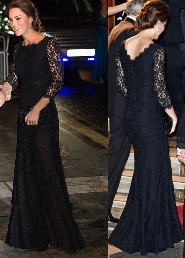 Trendy Evening Dresses Kate Middleton Princess Long Sleeves ...