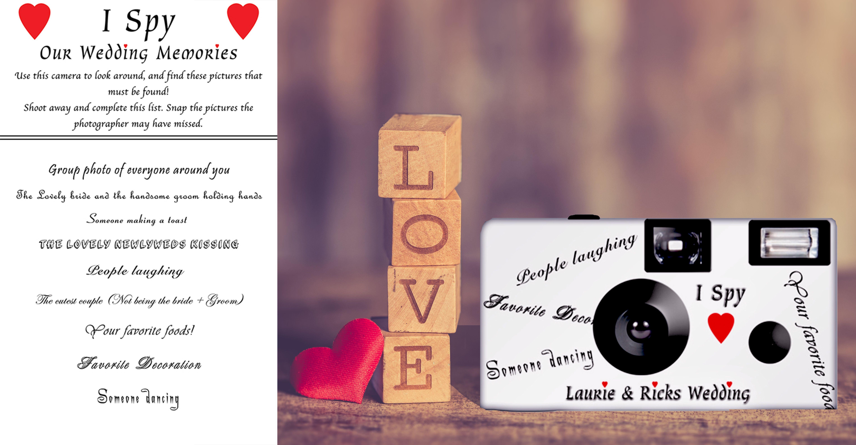 I Spy Camera And Card Disposable Camera Wedding Wedding Camera Tent Cards