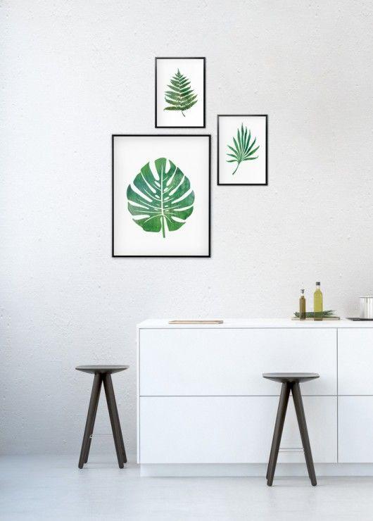 Komplet Grafik Botanicznych Liście Tropikalne Produkt
