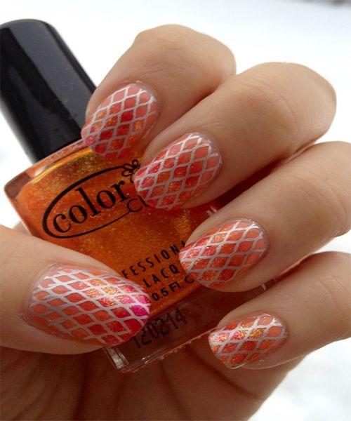 Glittery Spring Nail Art Design Ideas 2013