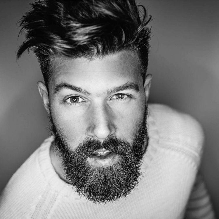 Hipster Bart Deckhaar Lang Volbart Oberlippenbart Pullover Frisur