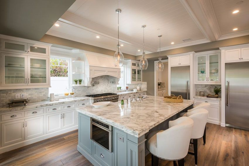 White And Gray Kitchen Blue Water Home Builders Kitchen Design White Kitchen Design Modern Farmhouse Kitchens