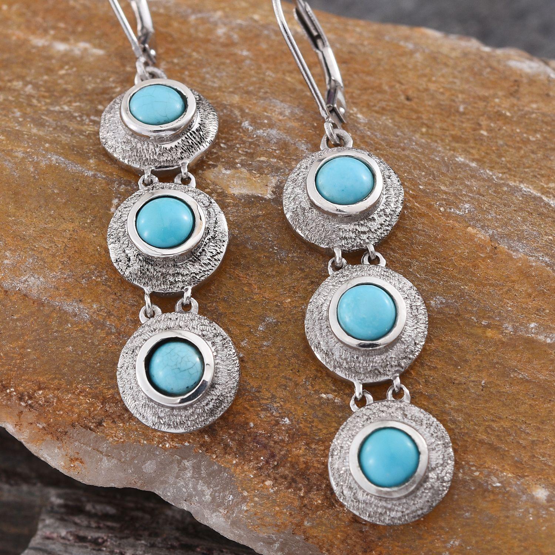 Arizona Sleeping Beauty Turquoise Lever Back Earrings in Platinum Overlay Sterling Silver (Nickel Free)