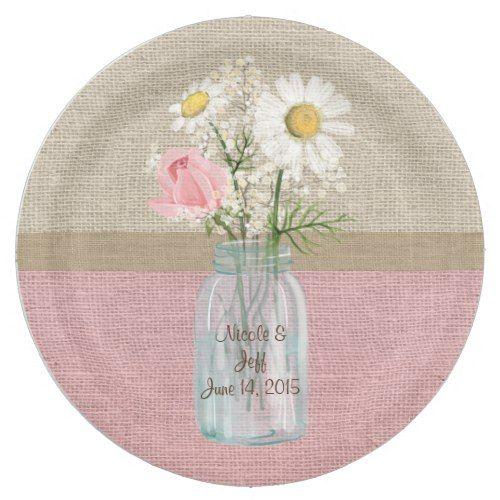 Elegant Burlap Floral Mason Jar Wedding Paper Plate | Floral Wedding ...